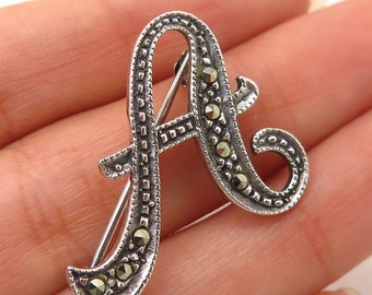 Fine Pins & Brooches Vintage 925 Sterling Silver Real Marcasite Gemstone Letter I Initial Pin Brooch