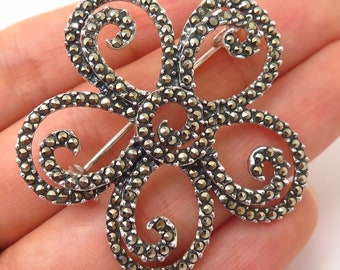 Fine Pins & Brooches 925 Sterling Silver Vintage Real Marcasite Gemstone Floral Pin Brooch
