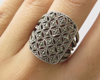 CN 925 Sterling Silver Natural Marcasite Gemstone Wide Ring Size 7