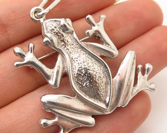 365cbe1b8 925 Sterling Silver Vintage Mexico Frog For Good Luck Design Brooch /  Pendant