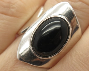 Vtg Mexico 925 Sterling Silver Real Black Onyx Gemstone Wide Ring Size 6