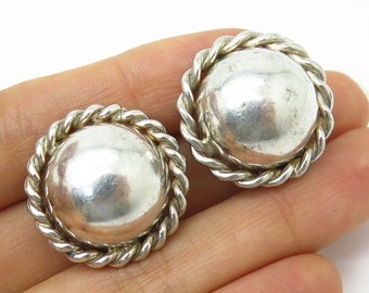 4b7ff16b0 Vintage Barra 925 Sterling Silver Twisted Frame Hollow Dome Clip On Earrings
