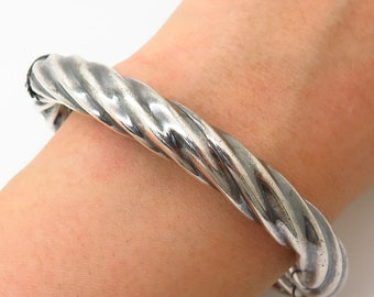 Precious Metal Without Stones Bangle Solid Silver Hinged Ladies Twist Design Sterling Silver