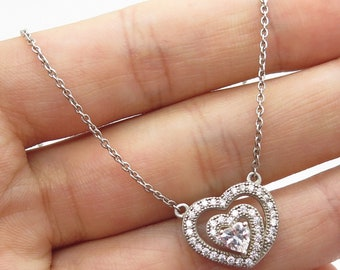 CN 925 Sterling Silver C Z Heart Pendant Chain Necklace 18