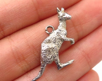 Kangaroo Charm Pendant Aussie 925 Sterling Silver Solid Bouncing Australian
