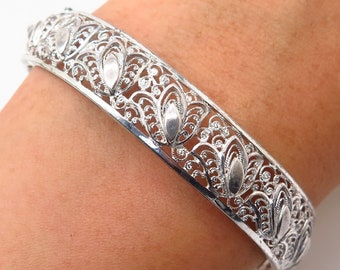 caf21cec13de Vtg Germany W. Nonnenmann Sterling Silver Filigree Design Bangle Bracelet  6.5