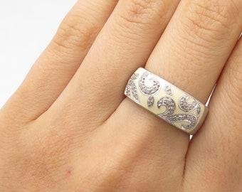 92d10eca7 JWBR Kay Jewelers 925 Sterling Silver Enamel Real Diamond Floral Ring Size 7