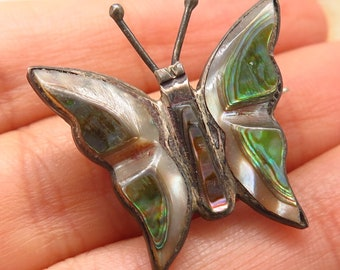 Vintage & Antique Jewelry Vtg Mexico 925 Sterling Silver Abalone Shell Large Leaf Pin Brooch
