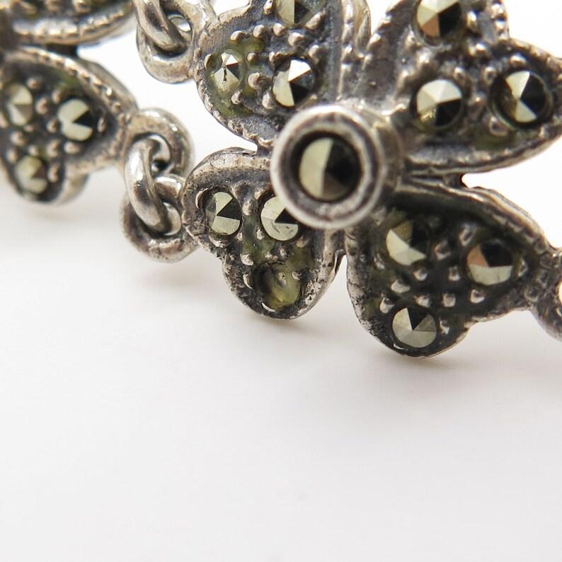 ND 925 Sterling Silver Real Marcasite Gemstone Floral Link Bracelet 7 14