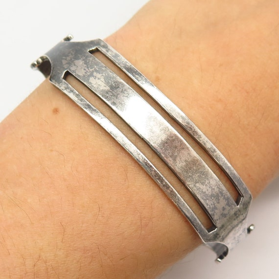 BA045 Cuff Cutout Bracelet with MOP Stone in Sterling Silver Vintage