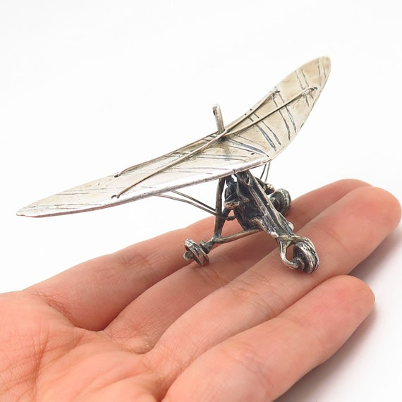800 Silver Vintage Deltaplane Table Figurine
