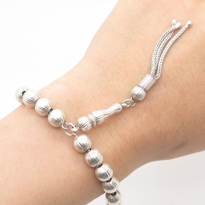 Vtg 925 Sterling Silver Bead Chaplet