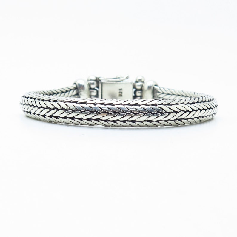 925 Sterling Silver Thick Braided Bracelet 6.5