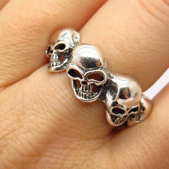 925 Sterling Silver Skull Design Biker Band Ring