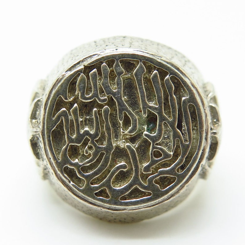 Signed 925 Sterling Silver Arabic Writing Wide Signet Ring Size 6 34