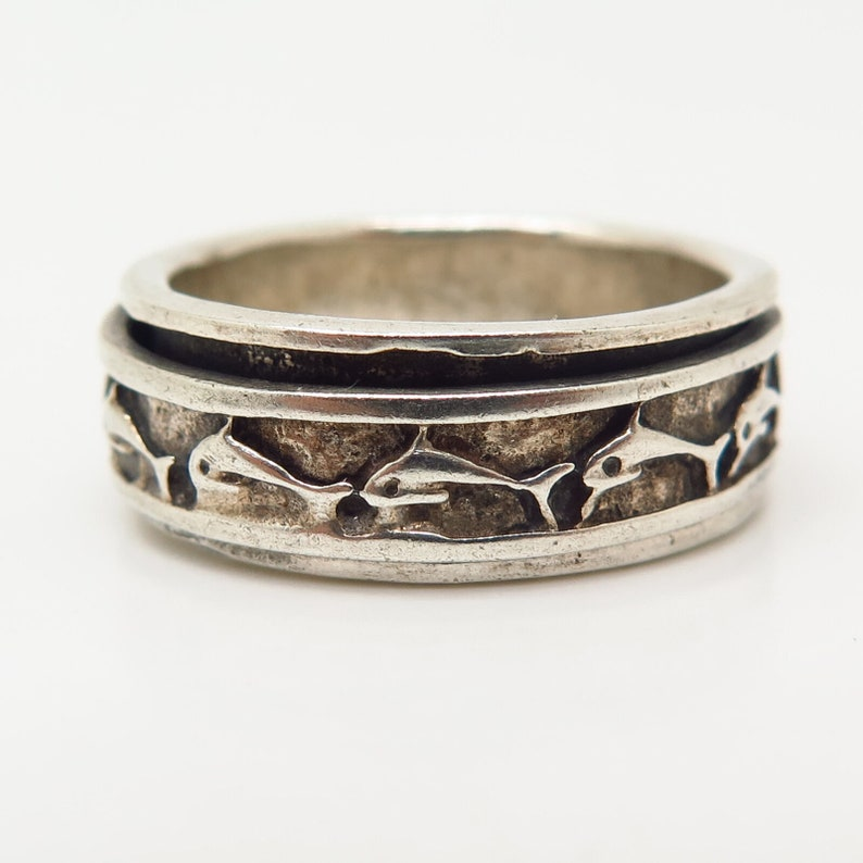 925 Sterling Silver Vintage Dolphins Design Rotating Band Ring Size 8 34