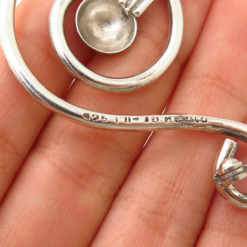 925 Sterling Silver Vintage Mexico Modernist Treble Clef Design Pin Brooch