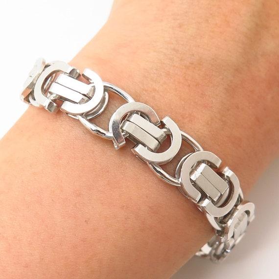 Italy 925 Sterling Silver Wide Puffy XO Link Bracelet 7