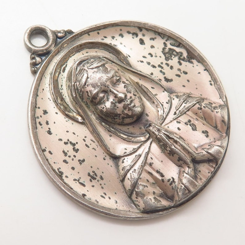 Vintage Creed 925 Sterling Silver Mary in Prayer Large Solid Religious Pendant