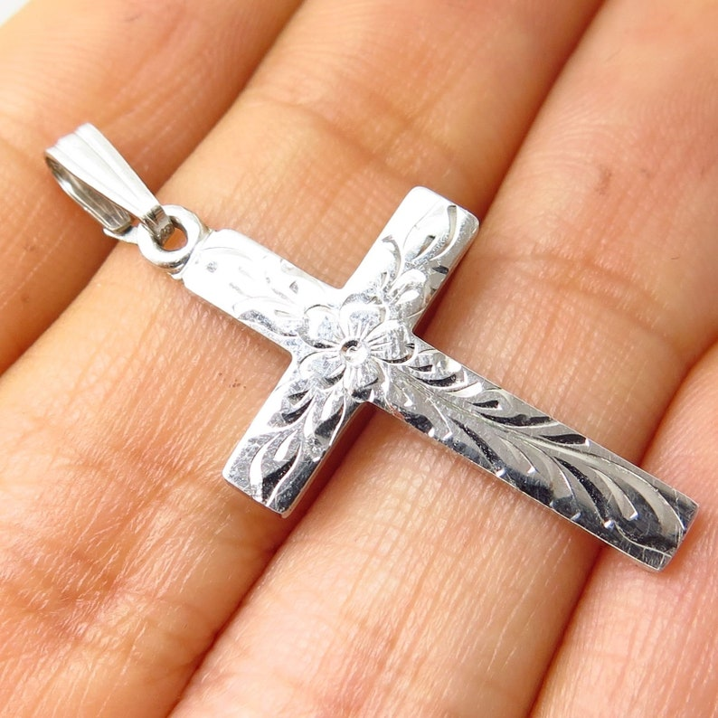 Solid 925 Sterling Silver Antiqued-Style Ichthus Fish Cross Pendant Charm 9mm x 20mm