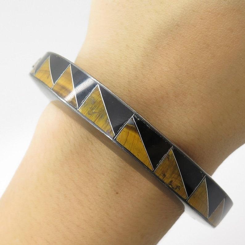 Mexico 925 Sterling Silver Tiger Eye Black Onyx Gemstone Bangle Bracelet 6 34