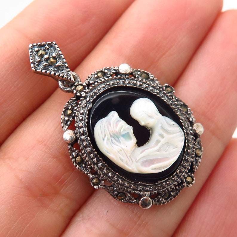 925 Sterling Black Onyx Marcasite Gem and Carved MOP Cameo image 0