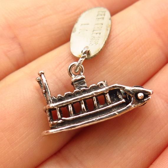 Sterling Silver Charm Steamboat Riverboat Paddle Boat Paddlewheeler Steamboat  Mississippi  Travel Souvenir Charm For Bracelet  Travel Charm