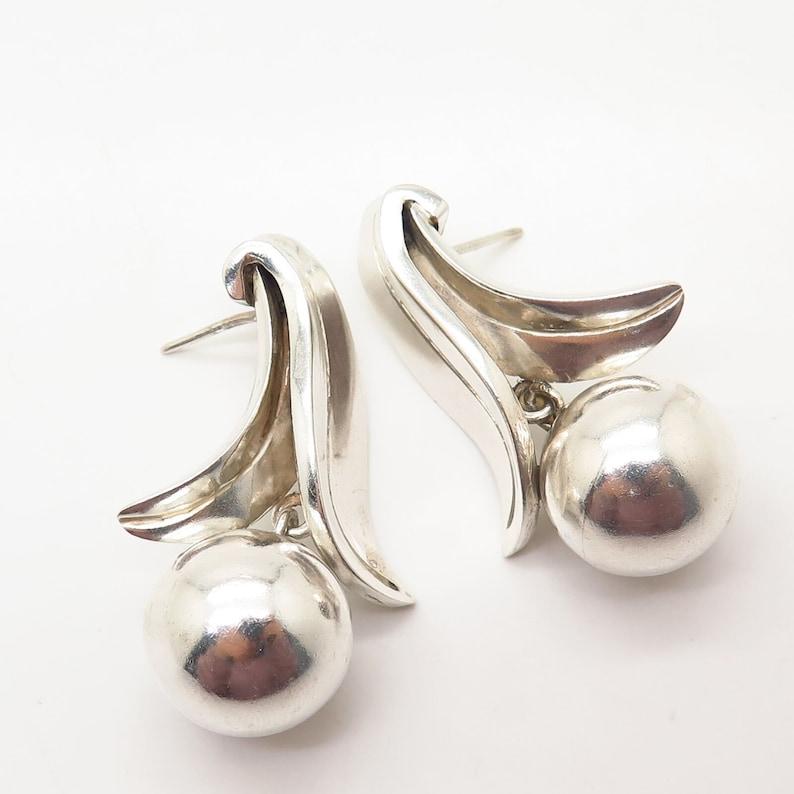 925 Sterling Silver Vintage Pat Areias Berry  Apple Design Dangling Earrings