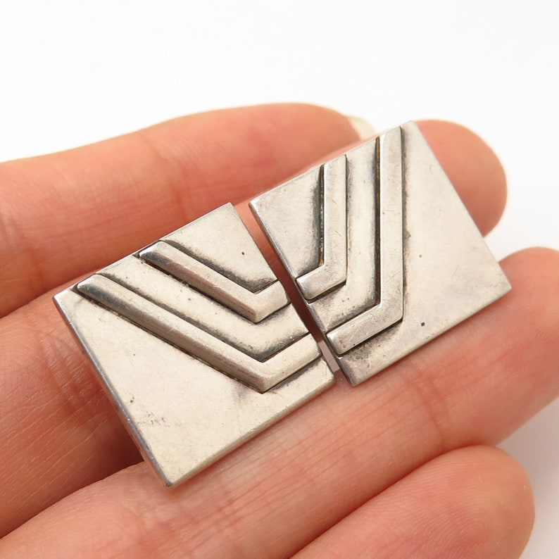 925 Sterling Silver Vintage Ciani Square Clip On Earrings