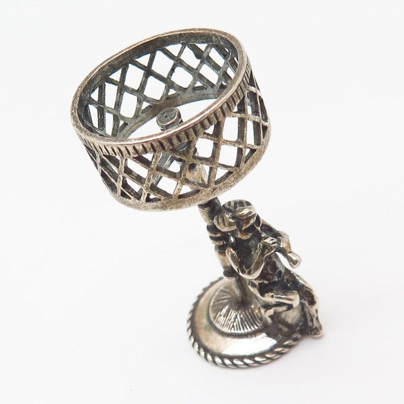 Vtg 925 Sterling Silver Flute Playing Cherub Lamp Design Table Figurine