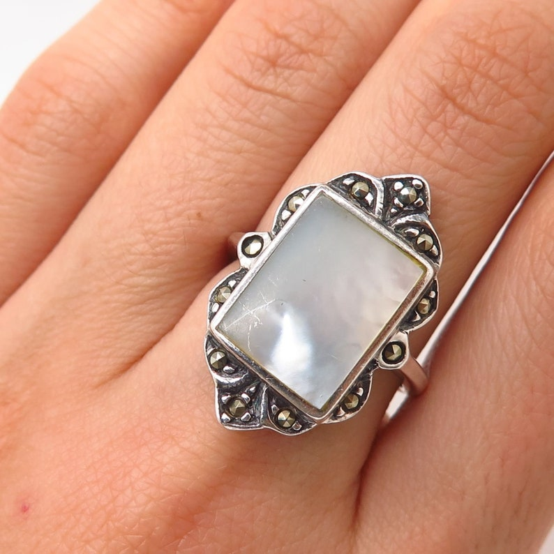 Jewelry & Watches Pearl Old Pawn Signed 925 Sterling Silver Pink Mother-of-pearl Floral Ring Size 5