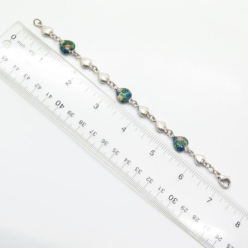 925 Sterling Silver Italy Floral Heart Link Bracelet 6.5