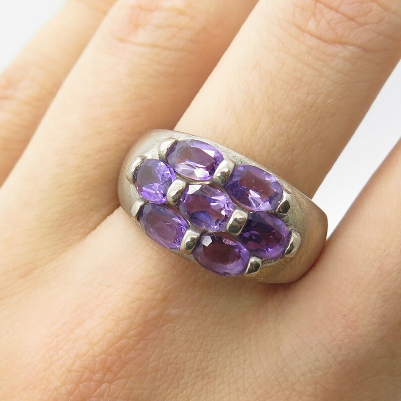 925 Sterling Silver Real Amethyst Gemstone Wide Ring Size 9