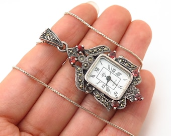 """925 Sterling Marcasite and Red Garnet Gem Watch Pendant Chain Necklace 18"""""""