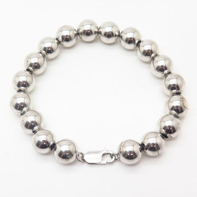 925 Sterling Silver Bead Link Bracelet 6.5