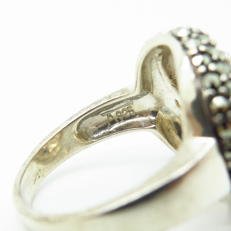 Signed 925 Sterling Silver Real Marcasite Gem C Z Spiral Wide Ring Size 8