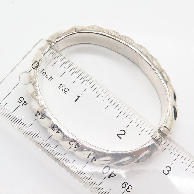 950 Silver Italy Ribbed Design Hollow Hinged Bangle Bracelet 7