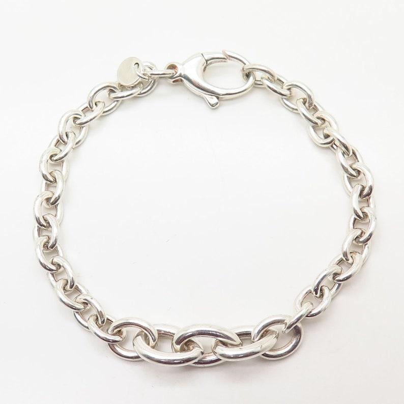 Signed 925 Sterling Silver Cable Link Bracelet 6 34