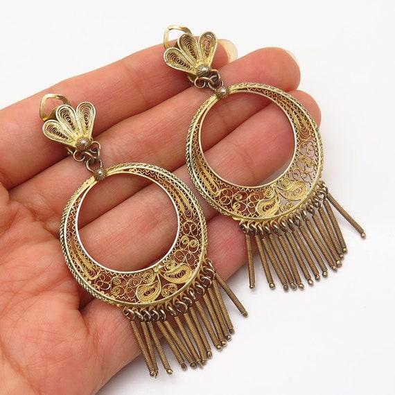 900 Silver Gold Plated Vintage Filigree Design Dan