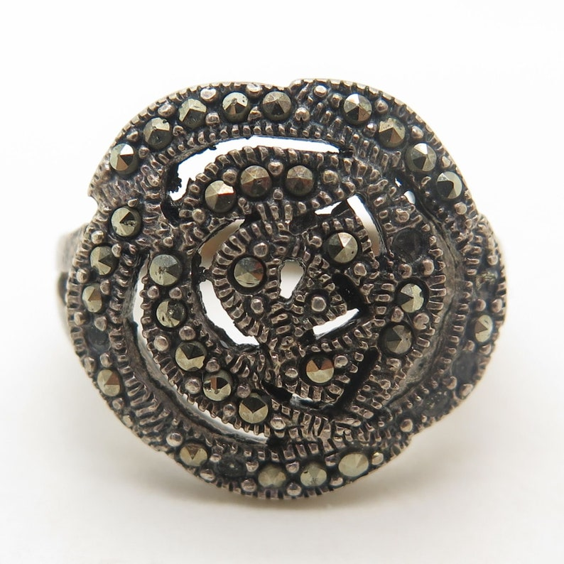 925 Sterling Silver Real Marcasite Gemstone Floral Rose Ring Size 6