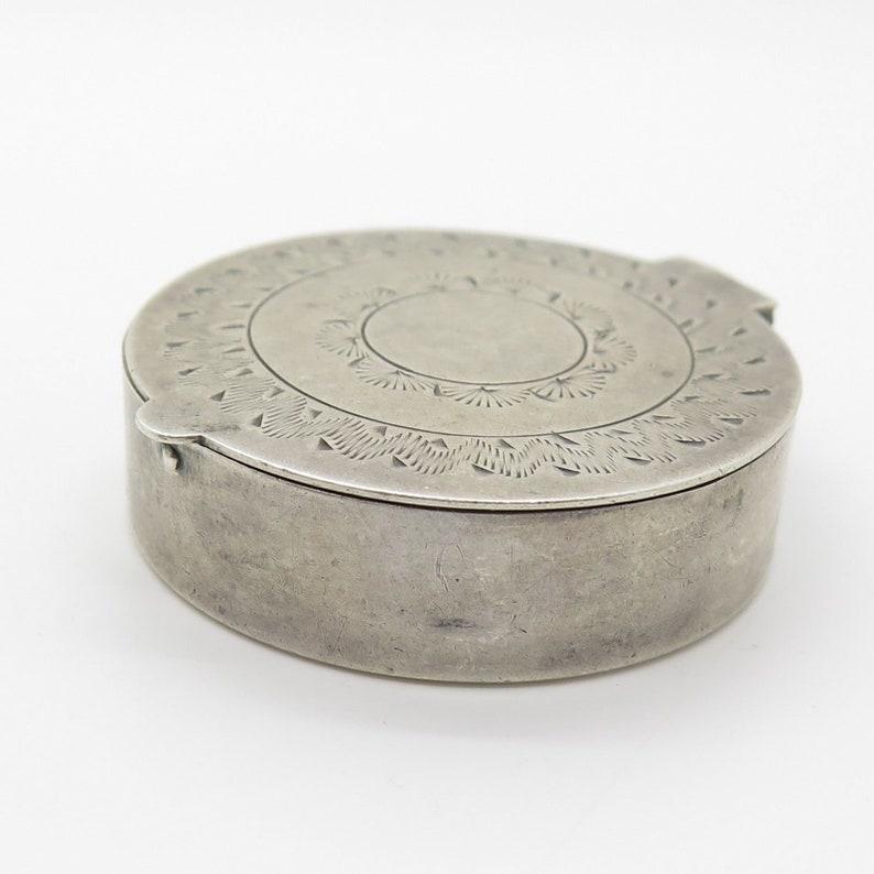 Vtg 925 Sterling Silver Mirror Pill Box