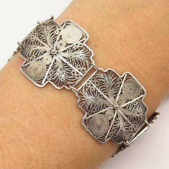 Vtg 925 Sterling Silver Crystal Filigree Floral Link Bracelet 6.5