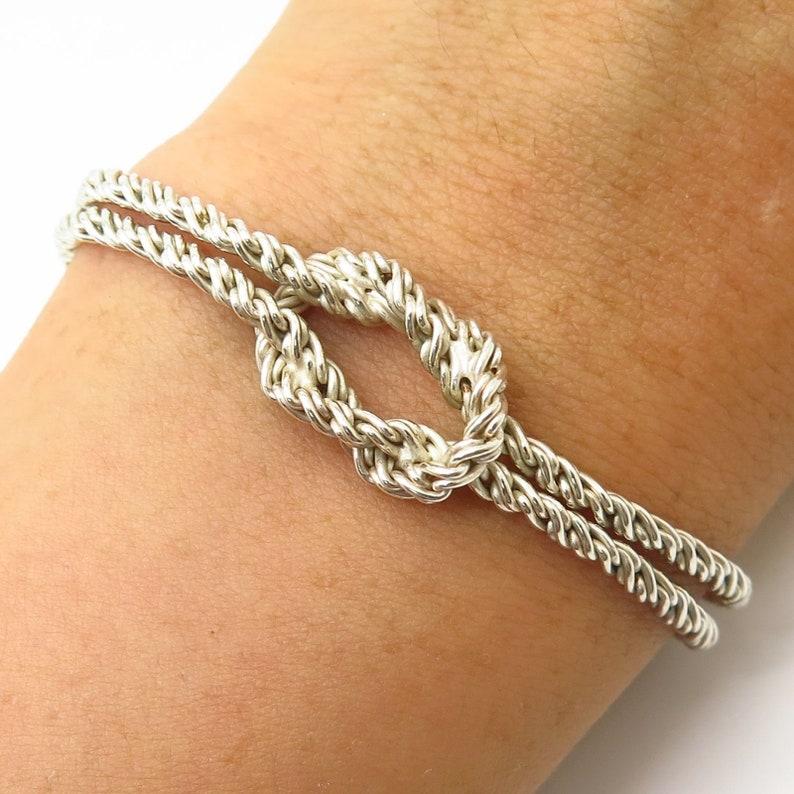 Italy Signed 925 Sterling Silver Hercules Knot Design 2 Strand Bracelet 7.5
