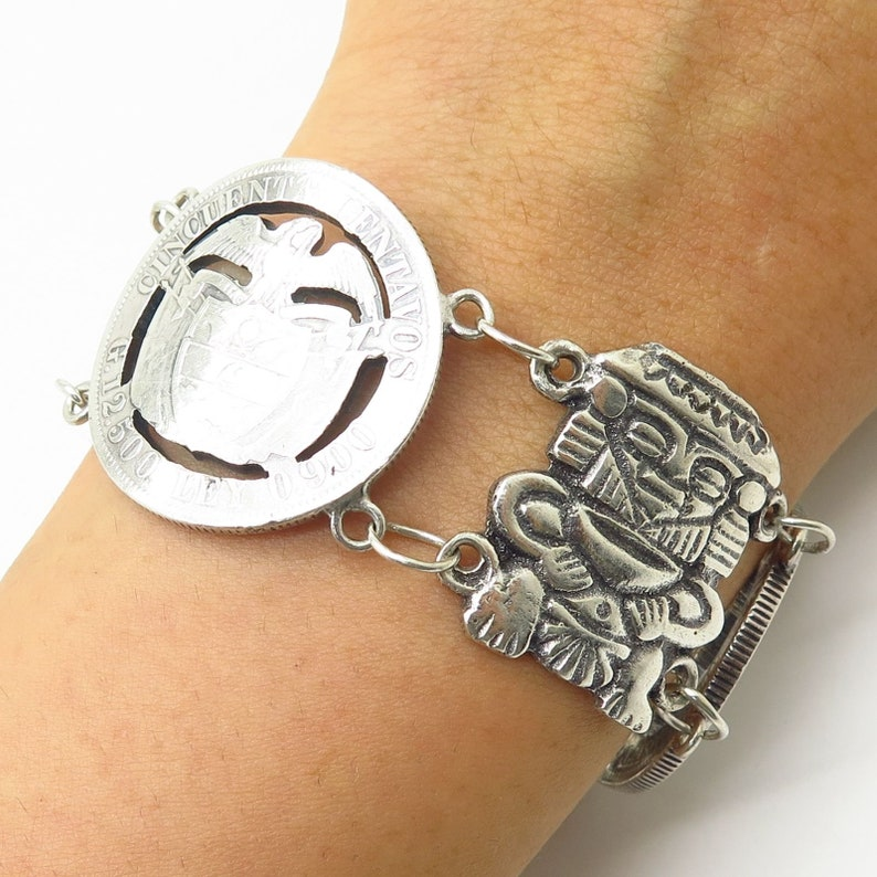 Vtg 900 Silver Colombia Coin Cutout Design and Tribal Theme Wide Link Bracelet 7
