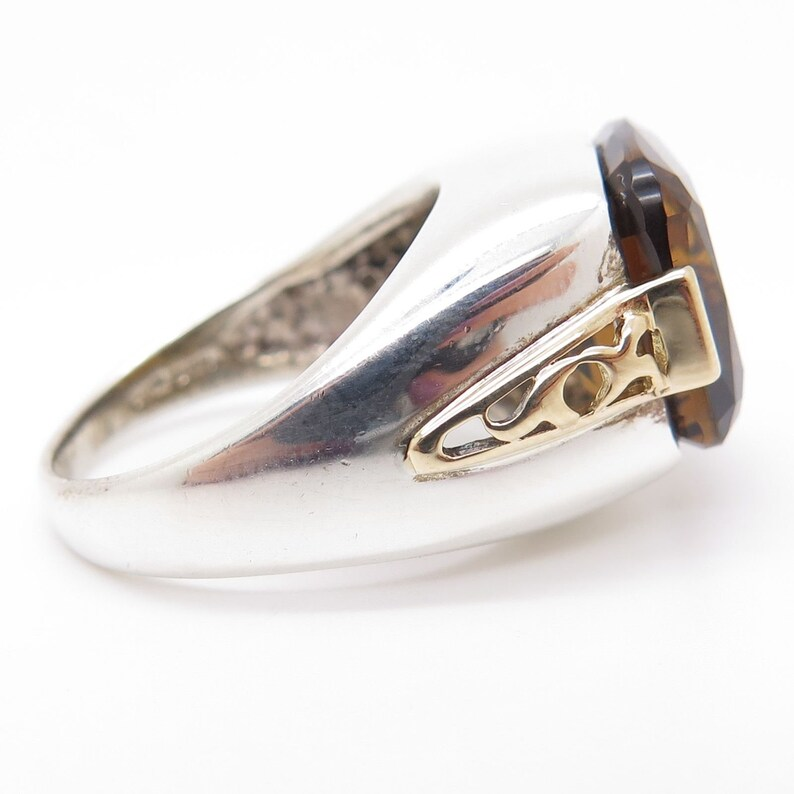 Signed 925 Silver Gold 14K Real Large Dark Citrine Gemstone Ring Size 7 14