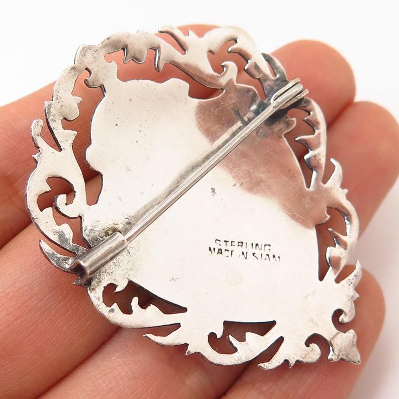 925 Sterling Silver Vintage Siam Niello Hindu Goddess Manimekhala Pin Brooch