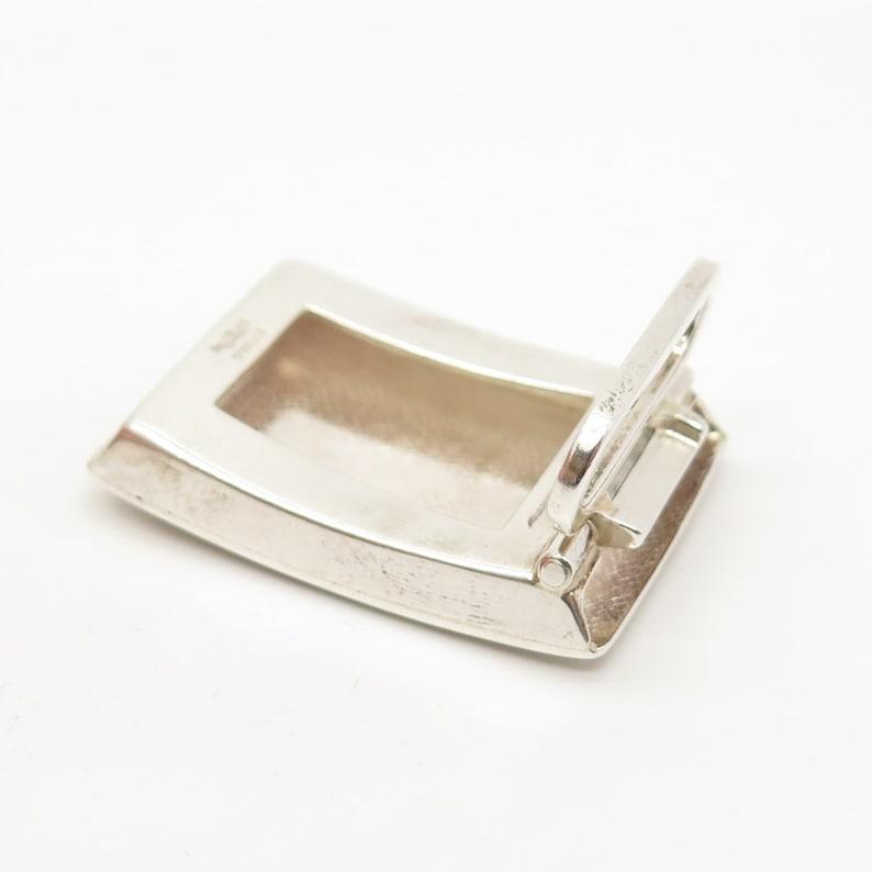 925 Sterling Silver Vintage Paul Stuart EMS Textured Belt Buckle