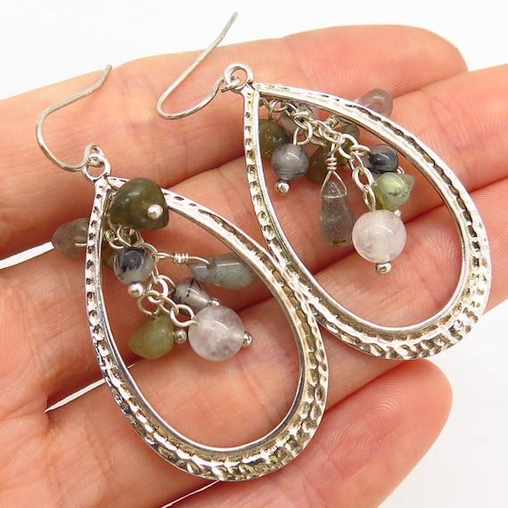 Light Color Topaz Stones Striking Sterling Silver Drop-Dangle Earrings 925LT