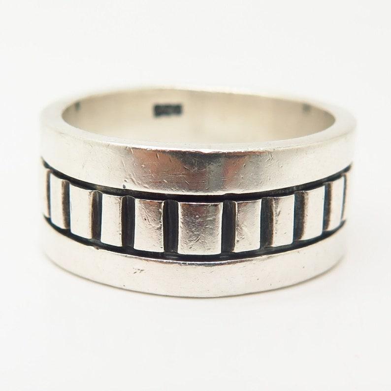 925 Sterling Silver Vintage Ornate Design Mens Band Ring Size 11