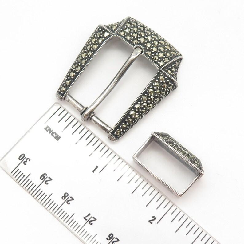 925 Sterling Silver Vintage Judith Jack Real Marcasite Gem Belt Buckle and Keeper